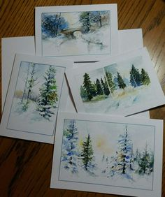 Watercolor Journal, Watercolor Projects, Watercolor Trees, Watercolor Cards, Watercolor Landscape, Watercolour Painting, Painting & Drawing, Watercolours, Painted Christmas Cards