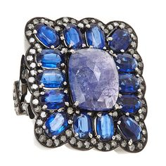 J/Hadley: Tanzanite stone ring with kyanite border and pave diamond detail (DD-2)