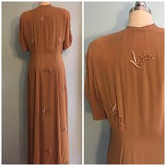 1940's Mustard Lily of the Valley Beaded Maxi by ModernMillieShop