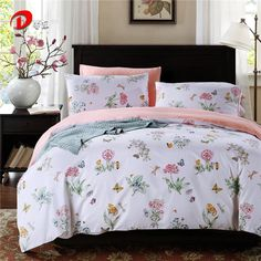 Butterfly & Floral Satin Bedding Set Luxury Egyptian Cotton Bed Set King Queen Size High Quality Bed Linen Duvet Cover Set Z7
