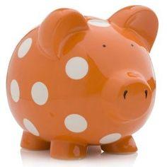 orange and polka dots! Coral Orange, Orange Color, Pig Bank, Power Colors, Cute Piggies, Orange You Glad, This Little Piggy, Money Box, Orange Crush