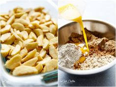 Easy Cinnamon Apple Crumble is foolproof! A juicy apple pie filling is covered with a crispy oatmeal cookie-like topping! Best Apple Crumble Recipe, Easy Apple Crumble, Blueberry Crumble, Apple Crisp Recipes, Spiced Apples, Baked Apples, Cinnamon Apples, Baked Oats, Apple Crisp Topping