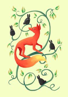 "Saatchi Online Artist: Indrė Bankauskaitė; Painting, Digital ""Bunnies and a Fox"""
