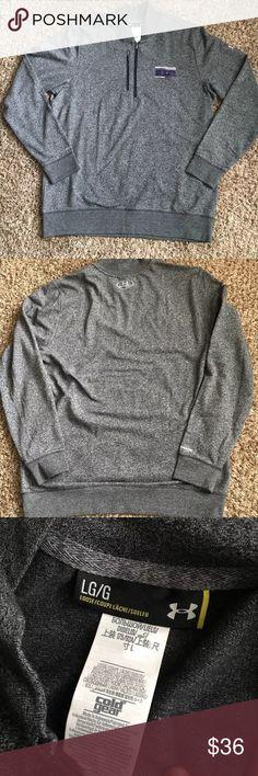 Under Armour NorthWestern Wildcats Sweater Size L NWT UA men's 1/4 zipper heather gray long sleeve Pullover Sweater Cold Gear Under Armour Sweaters
