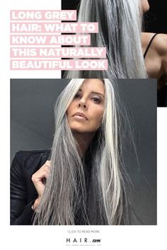 Touching up grey hair is a thing of the past. Growing out your natural grey is low maintenance and simplifies Blue Grey Hair, Grey Hair Looks, Grey Ombre Hair, Long Gray Hair, Silver Grey Hair, Shampoo For Gray Hair, Gray Hair Growing Out, Transition To Gray Hair, Long Hair Tips