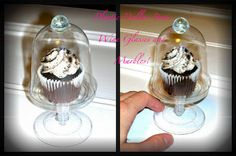 I made these with Plastic Dollar Store Wine Glasses, Cupcake liner lids and Marbles!  Mini Cupcake cloches for pennies!