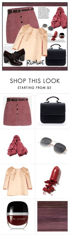 """""""Romwe Skirt"""" by ana-angela ❤ liked on Polyvore featuring Sretsis, LAQA & Co., Marc Jacobs, Élitis and Clarks"""