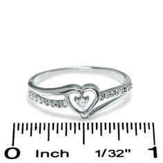 Diamond Accent Solitaire Heart Ribbon Ring in 10K White Gold - Size 7 - PAGODA.COM