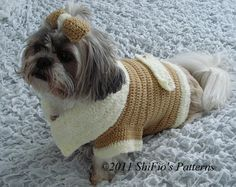 Dog Clothes Coat Bow Crochet Pattern S, M, L, XL 179 PDF. $3.99, via Etsy.