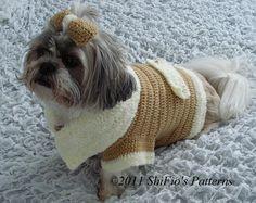 Dog Clothes Coat Bow Crochet Pattern S, M, L, XL 179 PDF. $3.99, via Etsy.