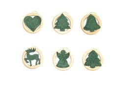 Christmas Ornaments  Set of 6  Wooden Rings Christmas by beigebois, €13.00