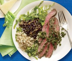 Art Tuesday Dinner: Chimichurri Flank Steak With Black Beans and Brown Rice eat-healthy-all-week Beef Recipes, Real Food Recipes, Cooking Recipes, Healthy Recipes, Rice Recipes, Simple Recipes, Healthy Meals, Salad Recipes, Clean Eating