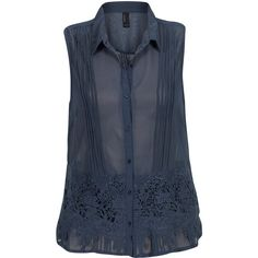 Vero Moda Top Jolan Blue (1.555 RUB) ❤ liked on Polyvore featuring tops, blouses, shirts, blue, pleated blouses, stitch shirt, button blouse, flower blouse and sleeveless button-down shirts