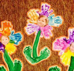 Preschool flower project (handprints, footprints, flower, spring, Shavuos, Shavuot, Jewish holiday, paint, kids)