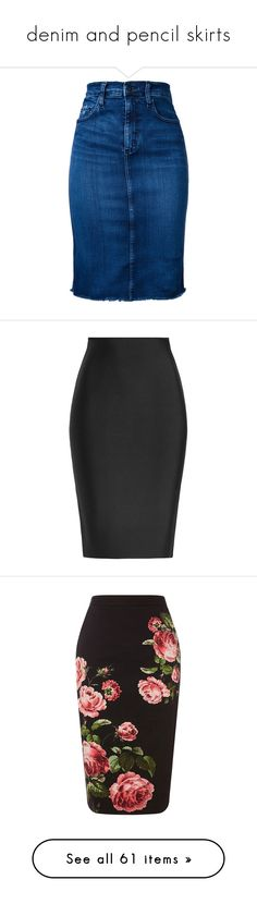 """""""denim and pencil skirts"""" by rhianna-alexandre ❤ liked on Polyvore featuring skirts, blue, vintage skirts, pencil skirt, blue skirt, vintage pencil skirts, nobody denim, black, roland mouret and knee length pencil skirt"""