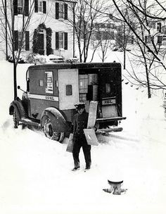 Description: City carrier delivering packages in the snow. The carrier's vehicle was designated to carry parcels only, not letter mail. By 1949, the post-World War II boom pushed mail volumes to unprecedented heights. A large part of the increase was http://arsanambalaj.com.tr