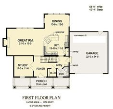 First Floor Plan of Traditional   House Plan 54114