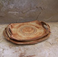 Shino Rust Handmade Stoneware Ceramic Pottery Serving Trays - Set of Two