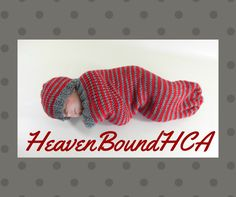 $25 USD Cocoon, Sleep Sack, Sleep Bag for Infant in Red and Gray Stripes by HeavenBoundHCA. www.HeavenBoundHCA.etsy.com