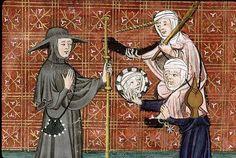 Paris, Bibl. Sainte-Geneviève, ms. 1130, f. 049v (The Pilgrim meets Flattery and Pride). Guillaume de Digulleville, Pèlerinage de vie humaine. Paris (?), last third of the 14th century.
