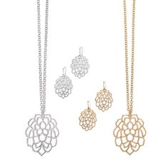 An intricate design to get everyone's attention! Necklace set with open work petal/leaf design pendant and matching earrings. Regularly $19.99, shop Avon Jewelry online at http://eseagren.avonrepresentative.com