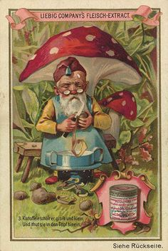 The Gnome trading card issued by Liebig Extract of Beef Company. Mushroom Decor, Mushroom Art, Woodland Creatures, Fantasy Creatures, Fantasy Forest, Flower Fairies, Cute Illustration, Vintage Cards, Vintage Advertisements