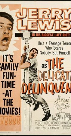 Sidney Pythias (Jerry Lewis) is the a bumbling janitor picked up by cop Darren McGavin as a teenage gang member worth saving from delinquency. Jerry Lewis, Comedy Movies, Film Movie, Old Movies, Vintage Movies, Darren Mcgavin, Movie Hacks, Comedy Duos, Dean Martin