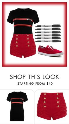 """72"" by dorothygale-z ❤ liked on Polyvore featuring River Island, Pierre Balmain, Keds, Sharpie, cool, school, black and red"
