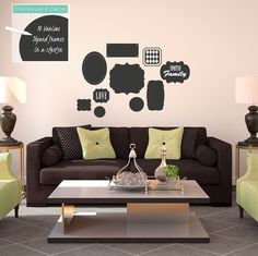 Chalkboard Cluster of Frames in Various Shapes - Vinyl Wall Art Decal for Homes, Offices, Kids Rooms, Nurseries, Schools, High Schools, Colleges, Universities