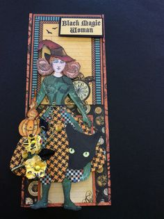 """Character Constructions, Catherine Moore stockings and upper body. Hand made skirt, pumpkin is Chocolate Baroque, Black Cat Cherry Pie, """"Black Magic Woman"""" Oxford Impressions Hand made card created by Kris Petersen"""