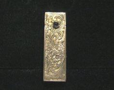 800 Silver Lipstick Case Vintage Italian Lipstick Holder Sapphire Clasp 1910s Compact Case 800 Sterling Silver