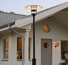 Low Glare Modern Lamp Post in Black Contemporary Outdoor Lighting, Best Outdoor Lighting, Outdoor Decor, Salford, Tree Support, Fashion Lighting, Modern Retro, Lighting Design, Glass