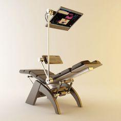 Концепт рабочего кресла на базе кресла с нулевой гравитацией от компании HUMAN TOUCH #компьютерноекресло #эргономичноекресло #автосимулятор #авиасимулятор #кокпит #киберкресло #cyberdeck #cyberchair #netsurf