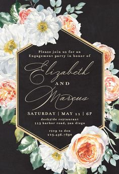 Watercolor Floral Geometric - Engagement Party Invitation #invitations #printable #diy #template #Engagement #party #wedding Farewell Party Invitations, Farewell Parties, Engagement Party Invitations, Wedding Invitation Templates, Printable Invitations, Invitation Cards, Printable Party, Geometric Wedding, Watercolor Wedding Invitations