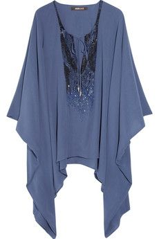 Roberto Cavalli|Sequined silk-georgette poncho|NET-A-PORTER.COM - StyleSays