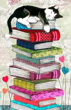 Painting cat sleeping on a pile of books. Painting cat sleeping on a pile of books. Cat Wallpaper, Animal Wallpaper, Graffiti Kunst, Art Carte, Image Chat, Illustration Art, Illustrations, Illustration Pictures, Cat Sleeping