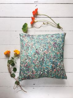 Liberty of London Mawston Meadow cushion cover in Dew colour, made by me.  Backed with natural washed linen.  Etsy shop https://www.etsy.com/uk/listing/547182900/liberty-of-london-cushion-cover-in