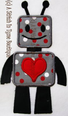 Valentines Boy Robot Machine Applique & by AStitchInTymeLLC