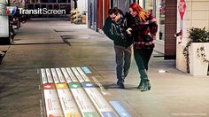 SmartWalk by TransitScreen projects a hyperlocal transport info display onto any surface