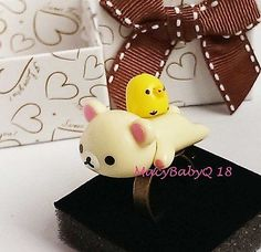 Kawaii Lazy Bear(milky white in color) Ring - 1(ONE) piece