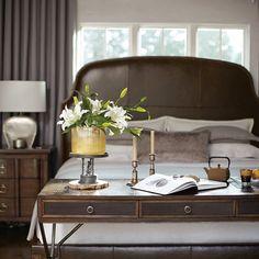 Bernhardt. Huntington Upholstered Bed, Desk, Nightstand. Flatcut plantation mahogany, leather, blackened metal. Available through HighStreet.