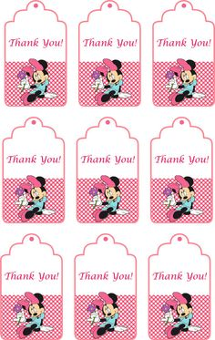 Disney Minnie Mouse pink Birthday Party Thank You Tags