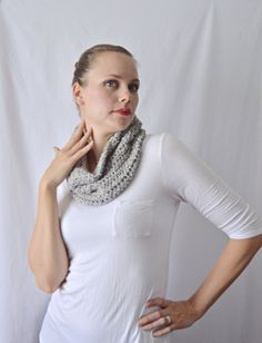 Chunky Crochet Neck Warmer Scarf Cowl / The Manitou / Silver Gray / Limited Edition - pinned by pin4etsy.com