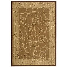 @Overstock.com - Indoor/ Outdoor Oasis Brown/ Natural Rug (4' x 5'7) - Add style to your home with this neutral indoor outdoor rug. This rug has a swirling design that catches the eye, and the 100 percent polypropylene pile is comfortable under your feet. The rug is ideal for preventing scratches on the floor.  http://www.overstock.com/Home-Garden/Indoor-Outdoor-Oasis-Brown-Natural-Rug-4-x-57/4009607/product.html?CID=214117 $42.29