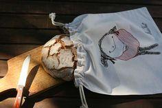 Cotton Bread Bag KusKat by kuskatdesigns on Etsy, €25.00