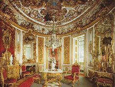 Linderhof's Castle, Bavaria. Show the oval shape commonly used in these formal rooms.