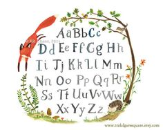 Woodland Nursery Art--Quick Red Fox Alphabet--by Kit Chase
