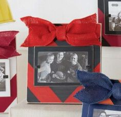 Red and black chevron wooden frame with burlap bow