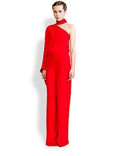 6c0f65c4128 Valentino - One-Shoulder Scarf-Neck Silk Jumpsuit