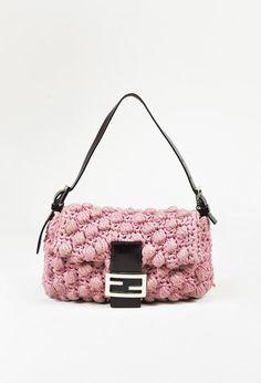 16dc42cbd789 Fendi Pink Crochet Knit   Brown Leather